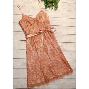 ANN TAYLOR rose gold lace dress